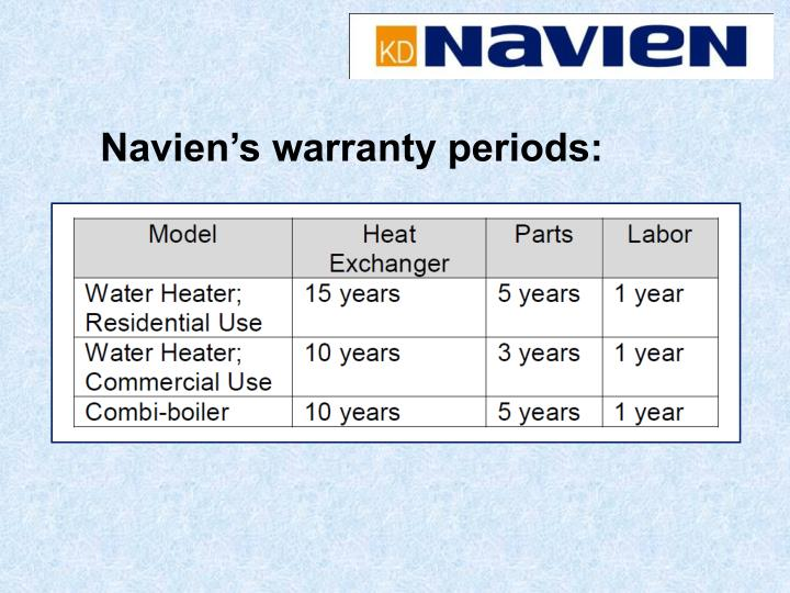Navien's warranty periods: