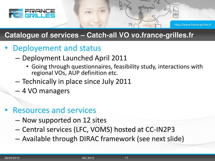 Catalogue of services – Catch-all VO vo.france-grilles.fr