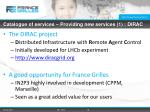catalogue of services providing new services 1 dirac