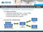 catalogue of services providing new services 2 dirac