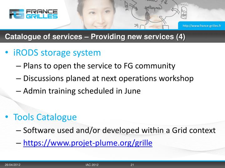 Catalogue of services –