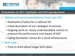 conclusion on 2011 highlights and 2012 perspectives