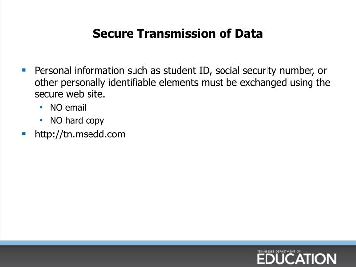 Secure Transmission of Data