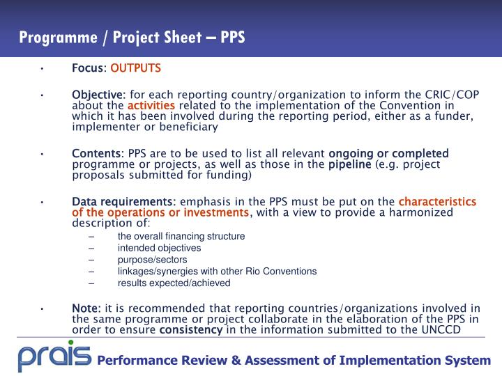 Programme / Project Sheet – PPS