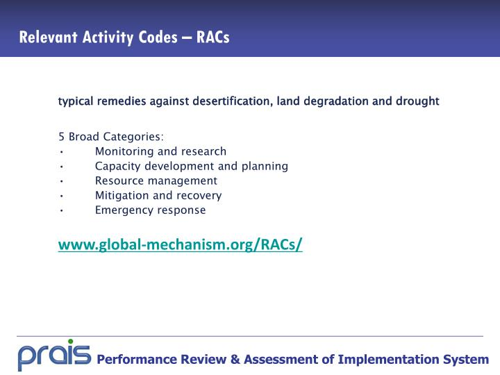 Relevant Activity Codes – RACs