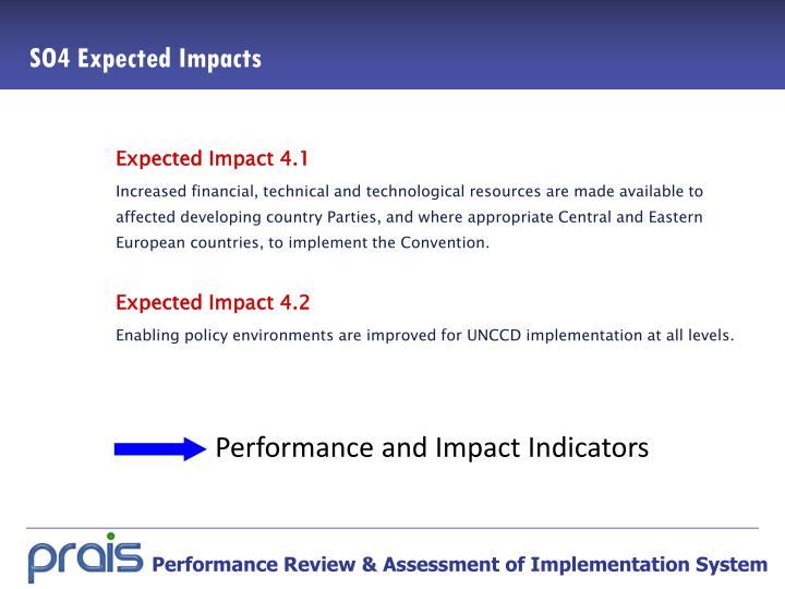 Performance and Impact Indicators