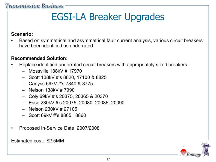 EGSI-LA Breaker Upgrades