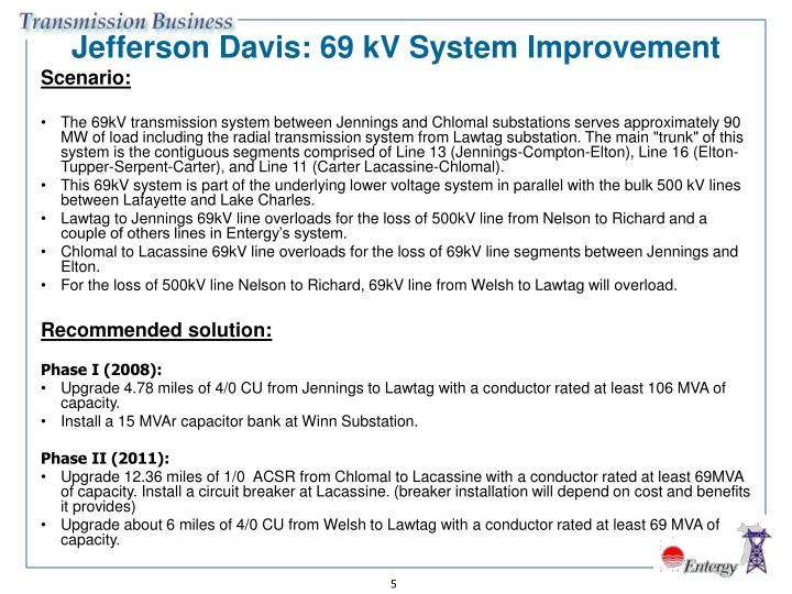 Jefferson Davis: 69 kV System Improvement