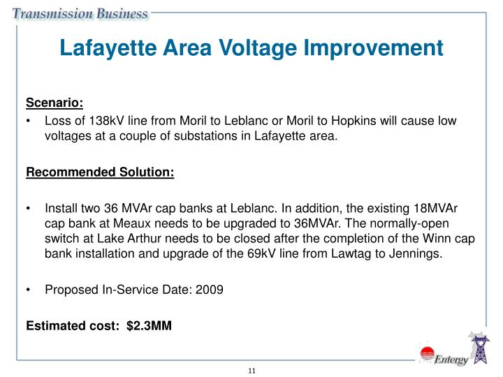 Lafayette Area Voltage Improvement