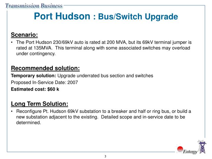 Port hudson bus switch upgrade
