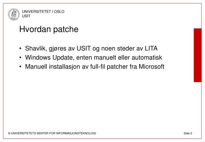 Hvordan patche