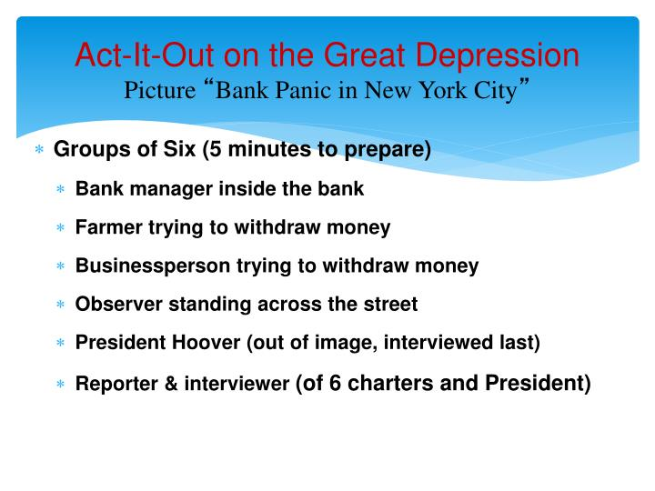 Act-It-Out on the Great Depression