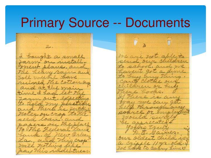 Primary Source -- Documents