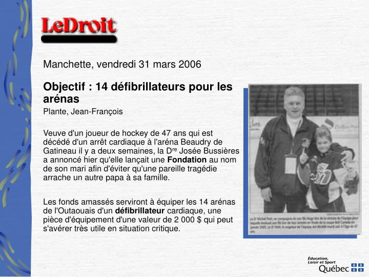 Manchette, vendredi 31 mars 2006