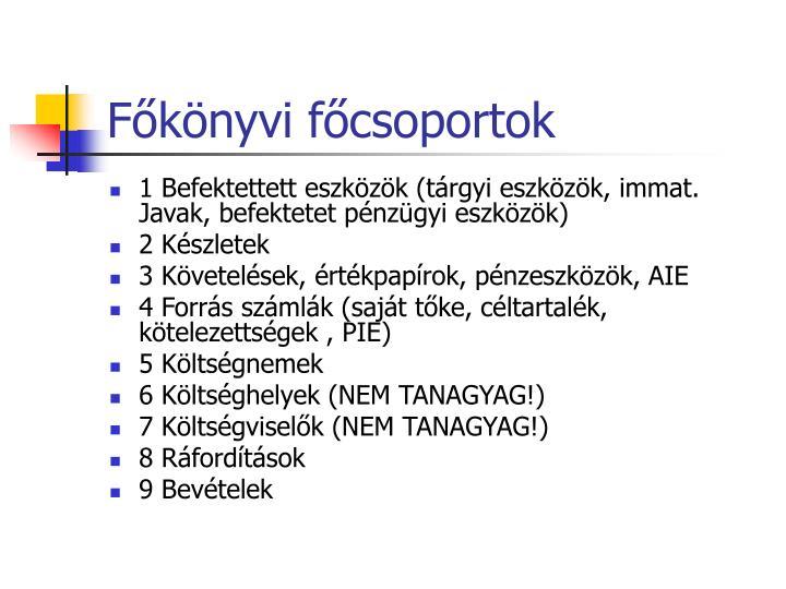 Főkönyvi főcsoportok