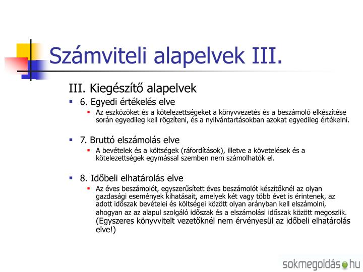 Számviteli alapelvek III.