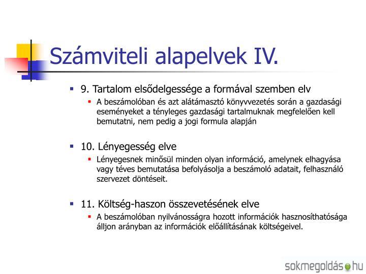 Számviteli alapelvek IV.