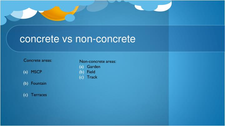 Non-concrete areas: