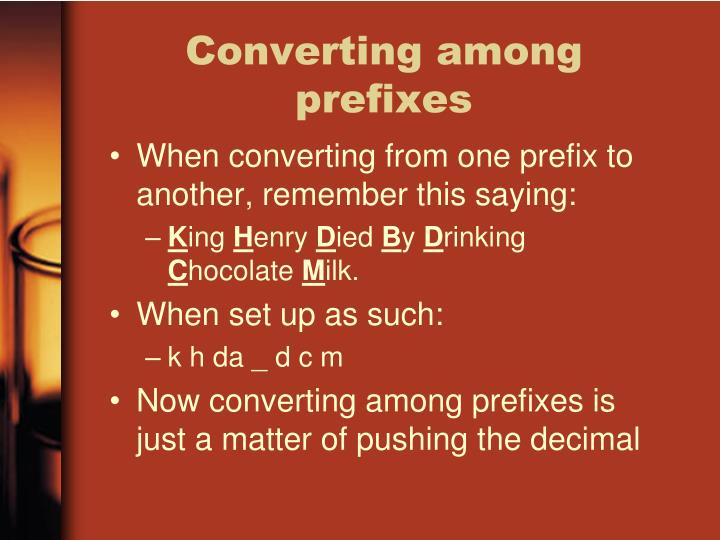 Converting among prefixes