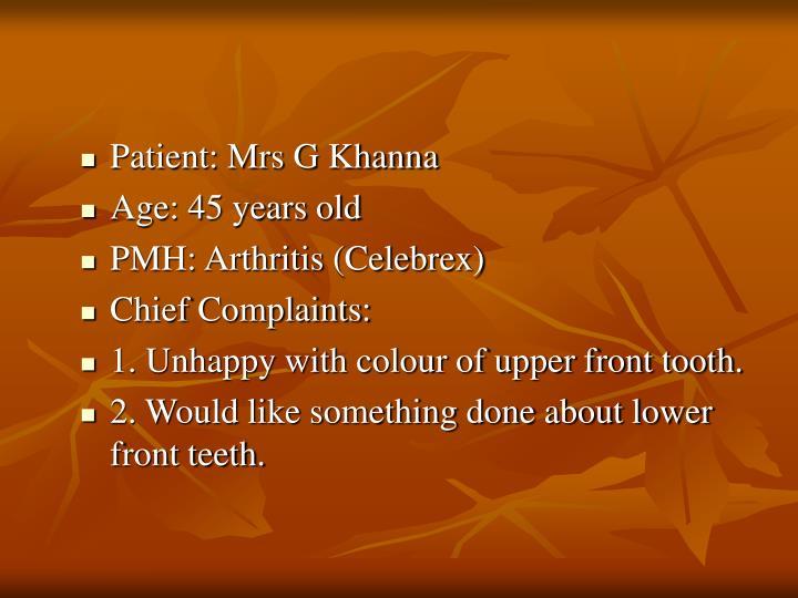 Patient: Mrs G Khanna