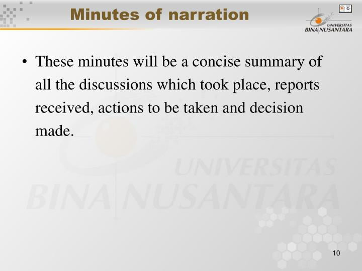 Minutes of narration