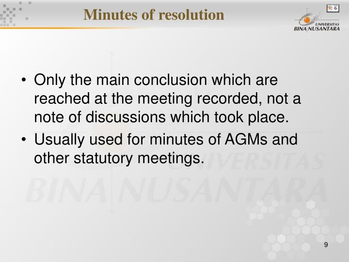 Minutes of resolution