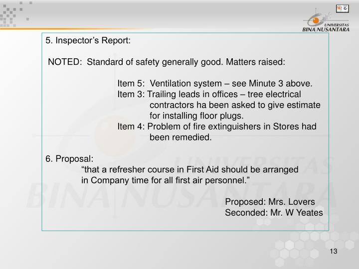 5. Inspector's Report: