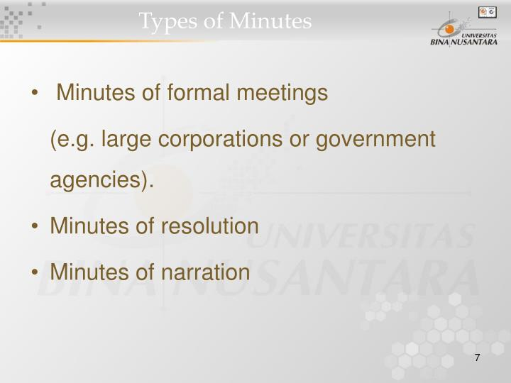 Types of Minutes