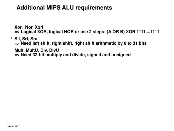 Additional MIPS ALU requirements