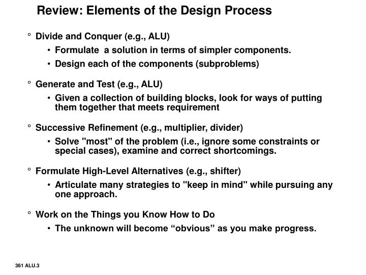 Review elements of the design process