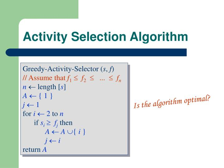 Activity Selection Algorithm