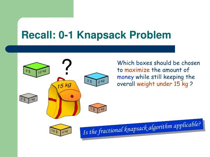 Recall: 0-1 Knapsack Problem