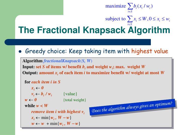 The Fractional Knapsack