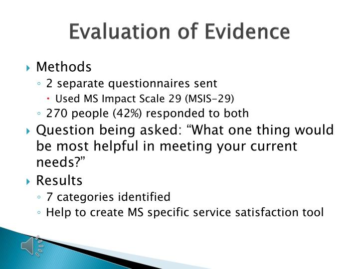 Evaluation of Evidence