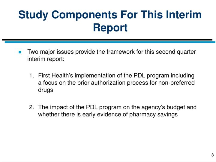 Study Components For This Interim Report