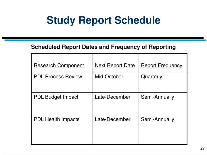 Study Report Schedule