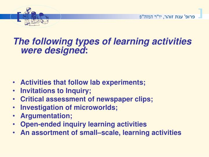 The following types of learning activities were designed