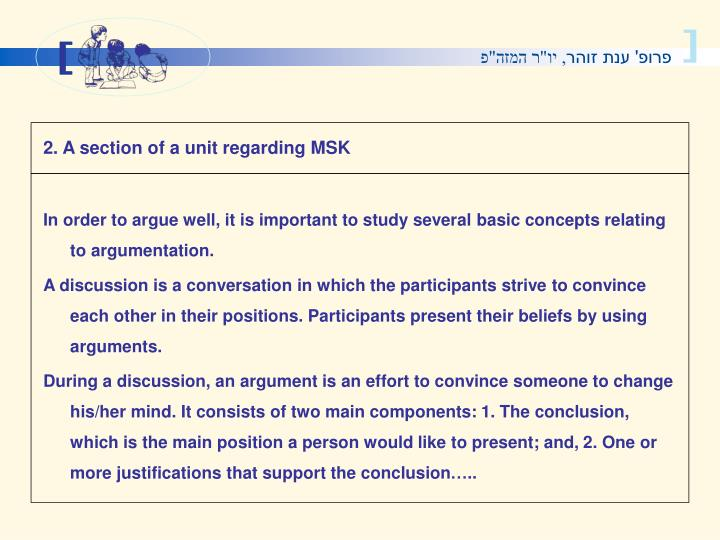 2. A section of a unit regarding MSK