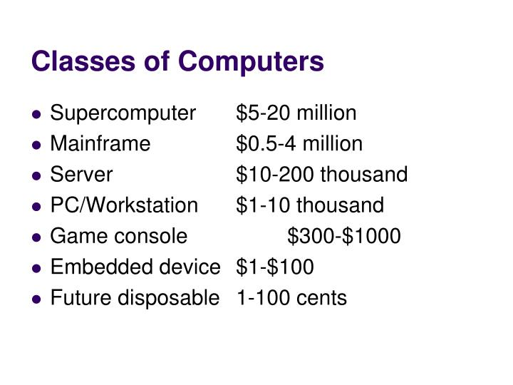 Classes of Computers