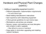 hardware and physical plant changes cont d1