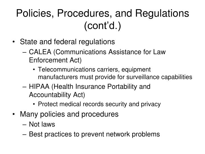 Policies, Procedures, and Regulations (cont'd.)
