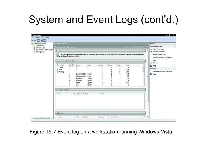 Figure 15-7 Event log on a workstation running Windows Vista