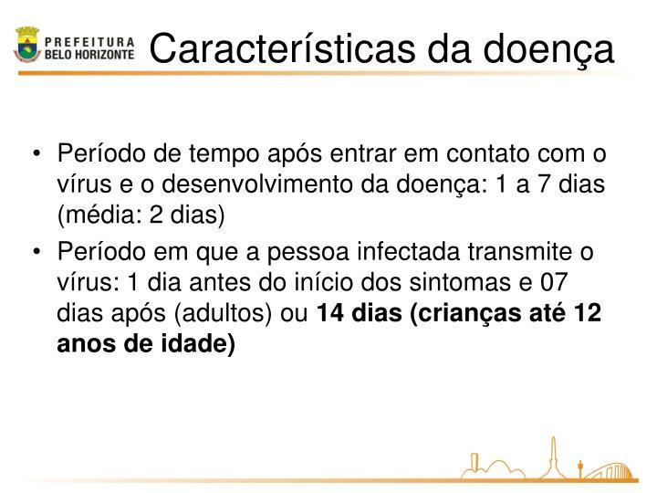 Período de tempo após entrar em contato com o vírus e o desenvolvimento da doença: 1 a 7 dias (média: 2 dias)