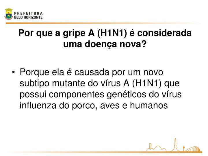 Porque ela é causada por um novo subtipo mutante do vírus A (H1N1) que possui componentes genéticos do vírus influenza do porco, aves e humanos