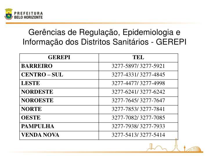 Gerências de Regulação, Epidemiologia e Informação dos Distritos Sanitários - GEREPI