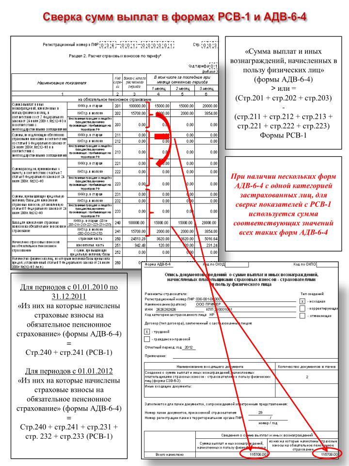 Сверка сумм выплат в формах РСВ-1 и АДВ-6-4