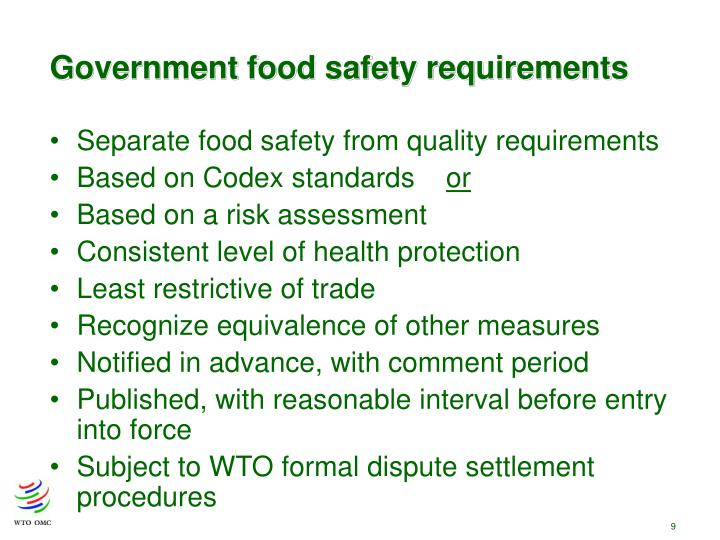 Government food safety requirements