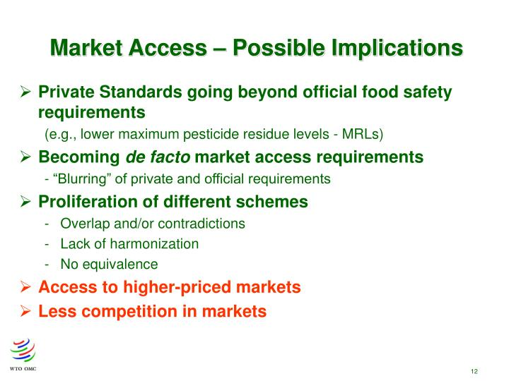 Market Access – Possible Implications