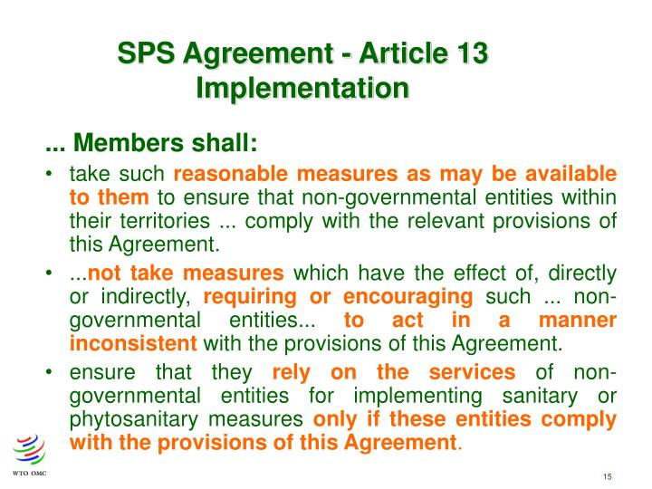 SPS Agreement - Article 13