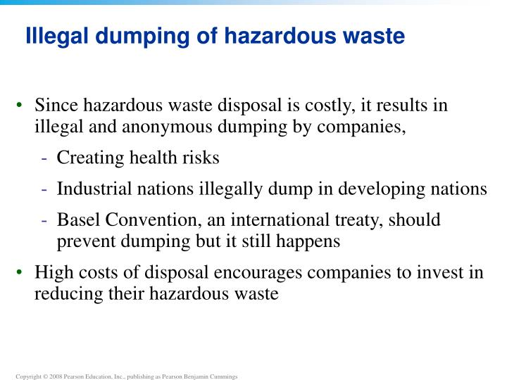 Illegal dumping of hazardous waste